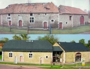 La cour de justice de Hosdent avant et après rénovation